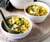 Суп с креветками и сахарной кукурузой