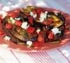 Баклажаны, запеченные на гриле с помидорами, сыром моцарелла и песто
